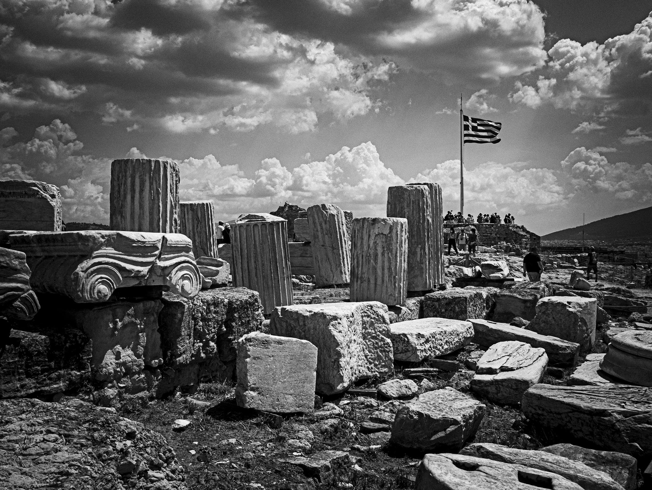 Acropolis with Greek Flag