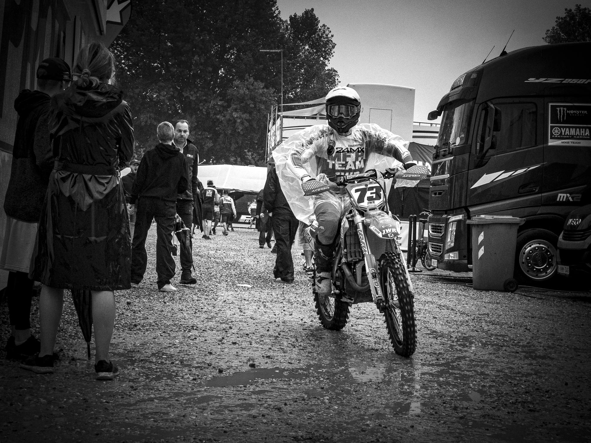 Moto Rider in Rain Pancho