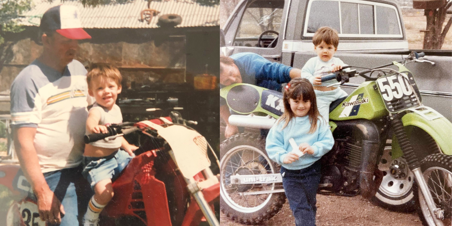 Jarred Elrod as a small child with vintage dirtbikes